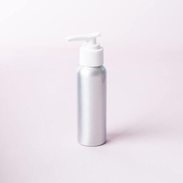 2 oz Brushed Aluminum Bottle with Locking White Pump