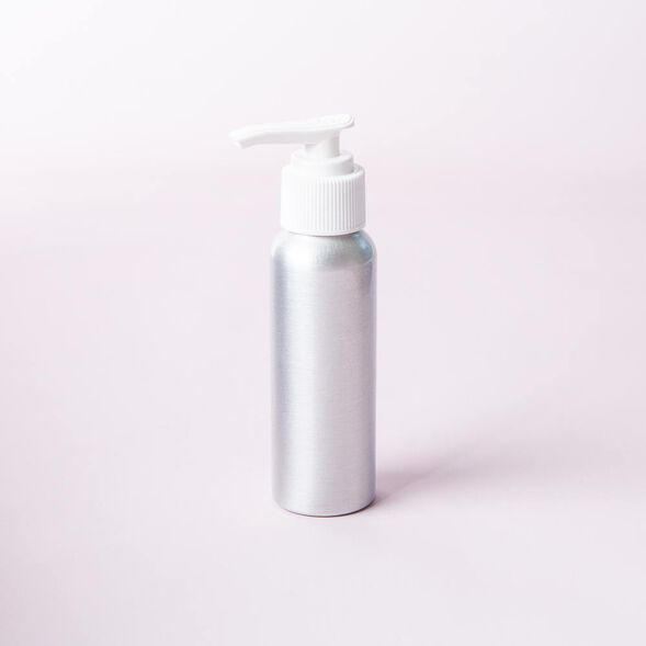 2 oz Brushed Aluminum Bottle with Locking White Pump