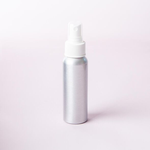 2 oz Brushed Aluminum Bottle with White Spray Cap