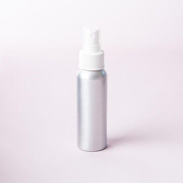 2 oz Brushed Aluminum Bottle with White Spray Cap