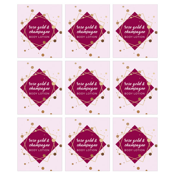Rose Gold and Champagne Lotion Digital Label