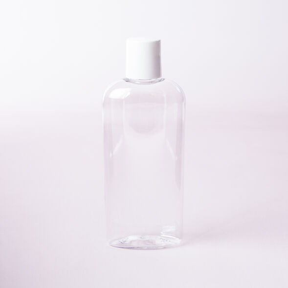 4 oz Clear Bottle with White Disc Cap - 1