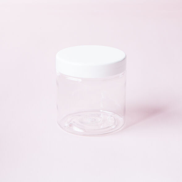 4 oz Clear Jar with White Cap - 1