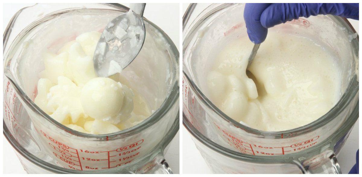 art0073 add milk to soap stirring in lye