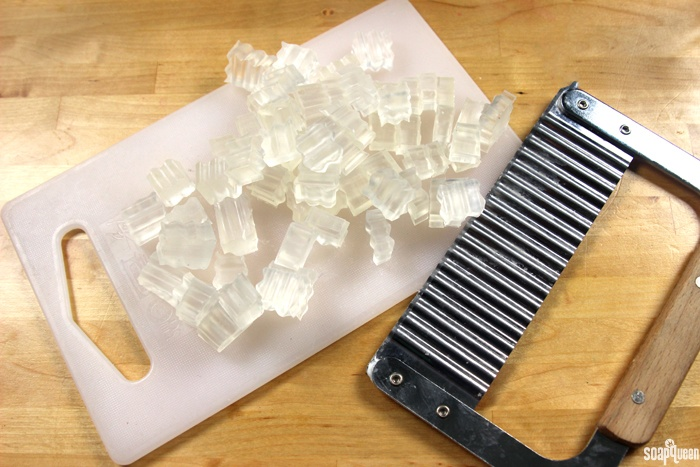 Clear Melt and Pour Chopped into Pieces Using a Crinkle Cutter