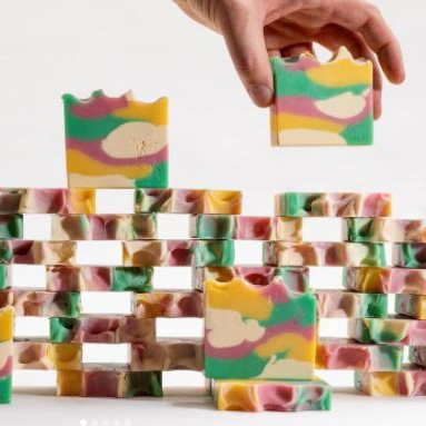 stacks of colorful soaps