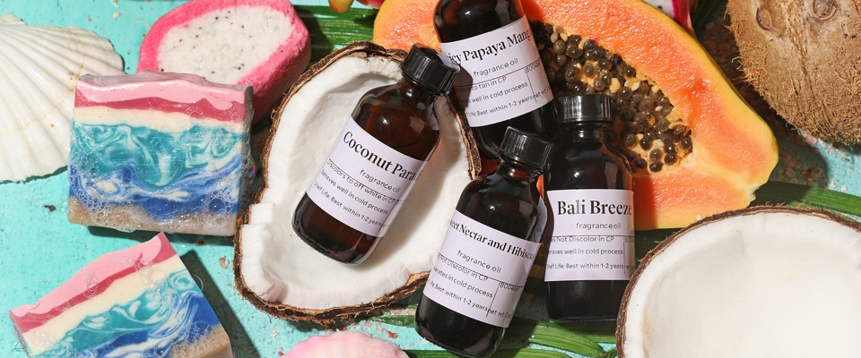 fragrance bottles with tropical surroundings