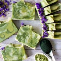 green swirled soaps