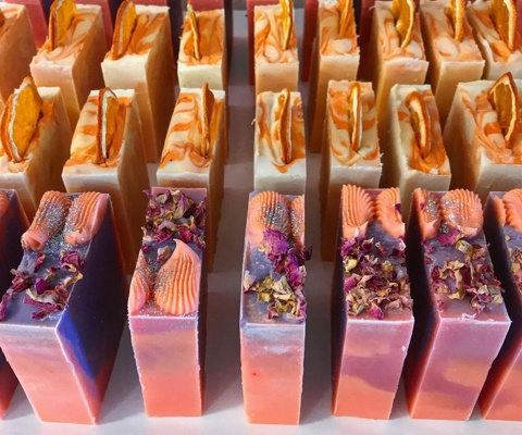rows of cut soaps