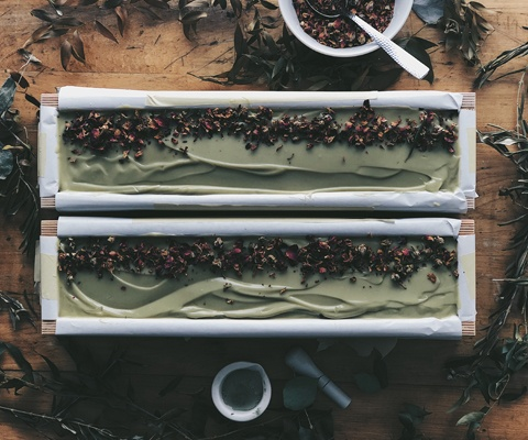 two loaves of green soaps
