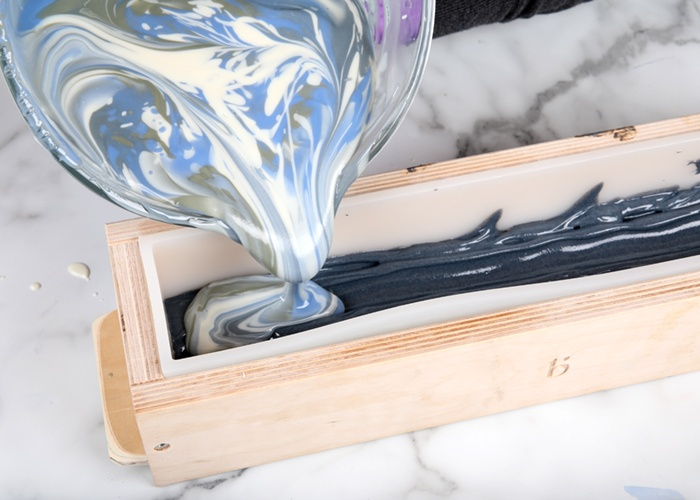 Pouring coastal rain cold process soap