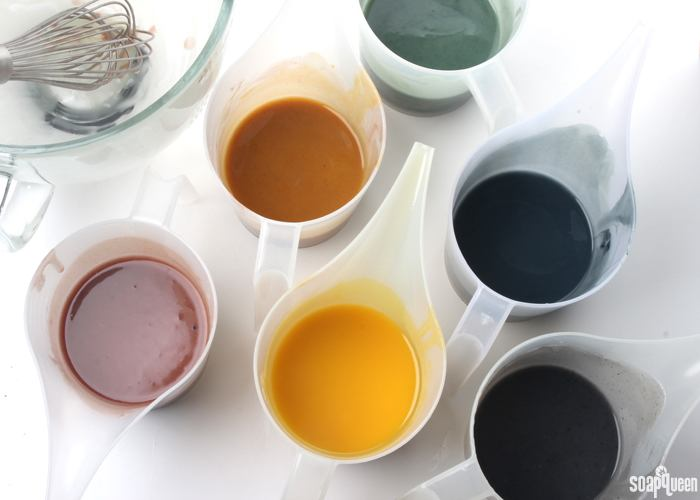 five colors of soap batter