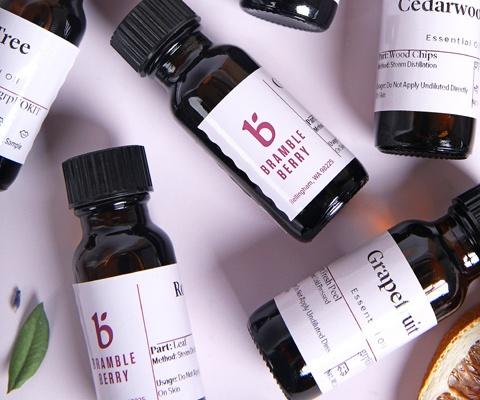 essential oils in sample size bottles