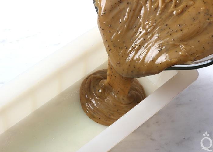 pour soap batter into mold