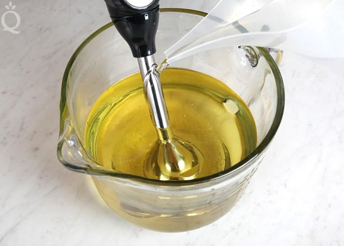 blend lye into oils