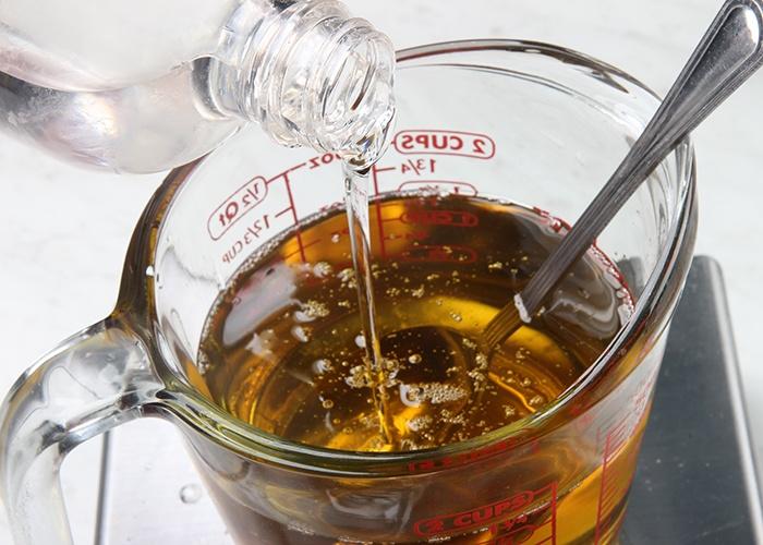 melt oils and combine liquids